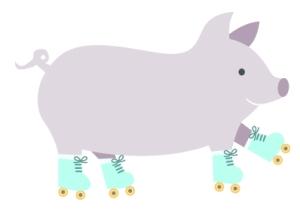 piggy-rollerskating