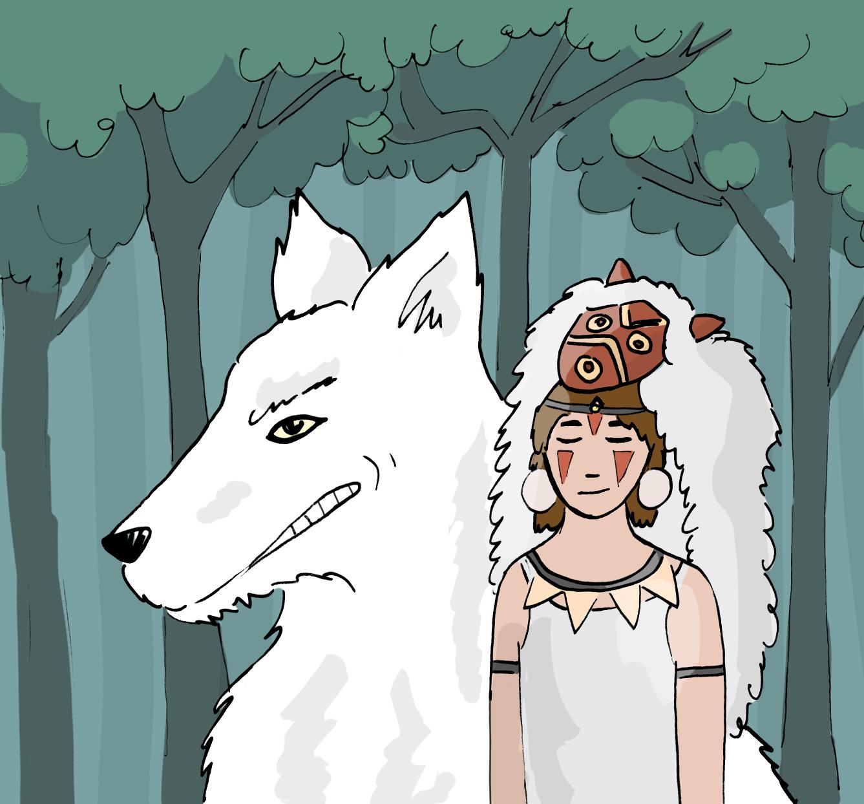 Princess Mononoke and the she-wolf Moro.